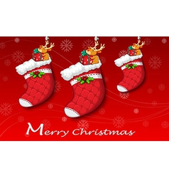 Three red christmas stockings vector