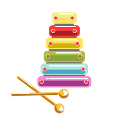 Toy colorful and shiny xylophone with wands vector