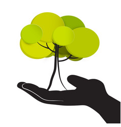 Tree in human hand isolated on white background vector