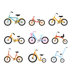 Various kids bikes collection colorful bicycles vector
