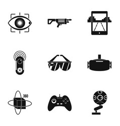Vr innovation icons set simple style vector