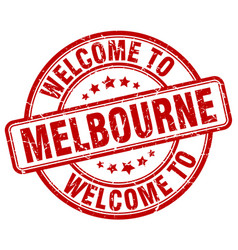 Welcome to melbourne red round vintage stamp vector