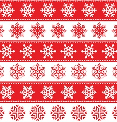 Winter Christmas red seamless pattern snowflakes vector image vector image