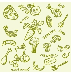 Fruit vegetables  hand-drawn vector