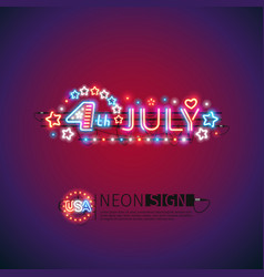 Glowing neon 4th july sign vector
