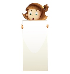 A girl holding an empty board vector