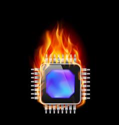 Burning processor on black background vector