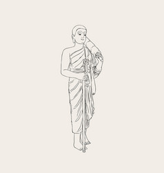 shaved buddhist monk full-length vector image