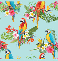Tropical flowers and birds seamless background vector