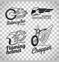 Motorcycle race logo on transparent background vector