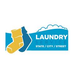 Socks on laundry service emblem vector