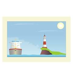 Ship and lighthouse in the sea vector