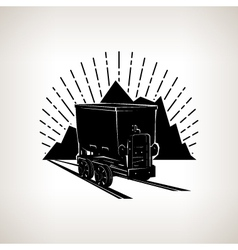 Silhouette coal mine trolley vector