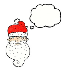 Cartoon grim santa face with thought bubble vector