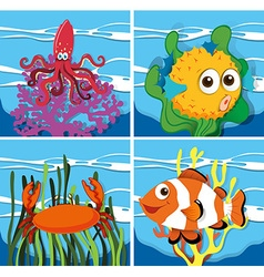 Different kind of sea lives vector