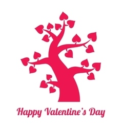 Valentines day vintage red tree with hearts icon vector