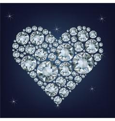 Casino poker element heart made a lot of diamonds vector image