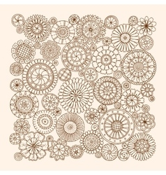 Summer doodle flower circles ornament hand drawn vector