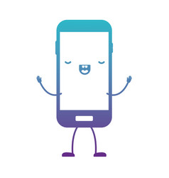 Animated kawaii smartphone icon in degraded blue vector