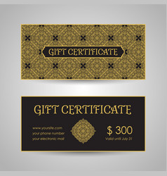 arabic style gift certificate template vector image vector image