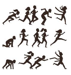 Athletic run man people silhouette jogging summer vector