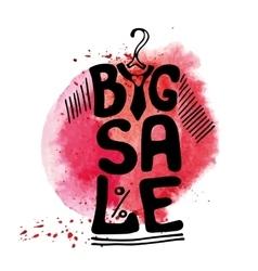 Big Sale letteringTee Shirtwatercolor red splash vector image vector image