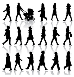 Black silhouettes of beautiful womans on white vector image vector image