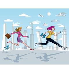 Businesswomen running and skyscrapers vector