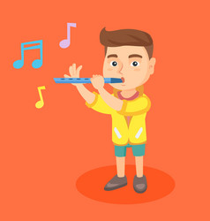 caucasian little boy playing the flute vector image