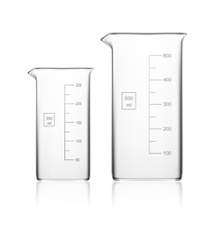 Chemical laboratory glassware or beaker glass vector