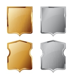 Collection of silver and golden shields vector image