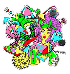 colorful 90s fashion patches doodle template vector image vector image