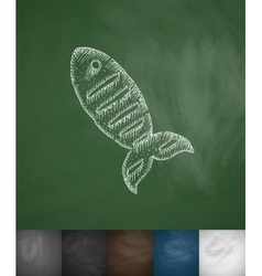 Fish icon hand drawn vector