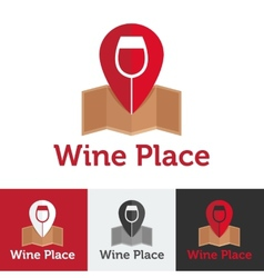 flat wine shop or bar logo set vector image