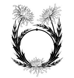Frame with chrysanthemum vector