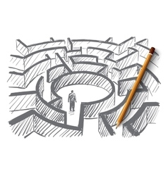 Hand drawn man standing in center of labyrinth vector