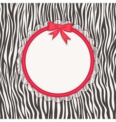 Invitation card with zebra texture vector