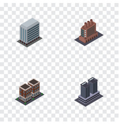 Isometric architecture set of house office vector