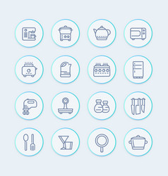Kitchen icons set in line style vector