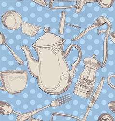 Kitchen utensils vintage vector