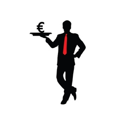 man with euro icon vector image vector image