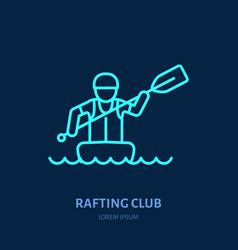 Rafting kayaking flat line icon vector