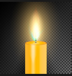 Realistic burning dinner candle transparency grid vector