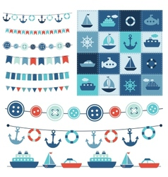 sea theme garland and patchwork vector image vector image