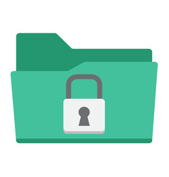 Secure data folder flat icon security padlock vector