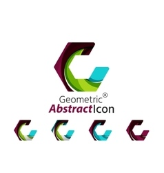 Set of abstract geometric company logo hexagon vector image