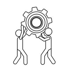Silhouette pictogram men holding a pinion vector
