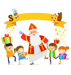 Sinterklaas and kids vector