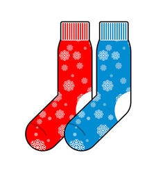 Socks winter with snowflakes for Christmas gifts vector image vector image