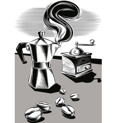 Steaming coffee pot some coffee beans and an old vector
